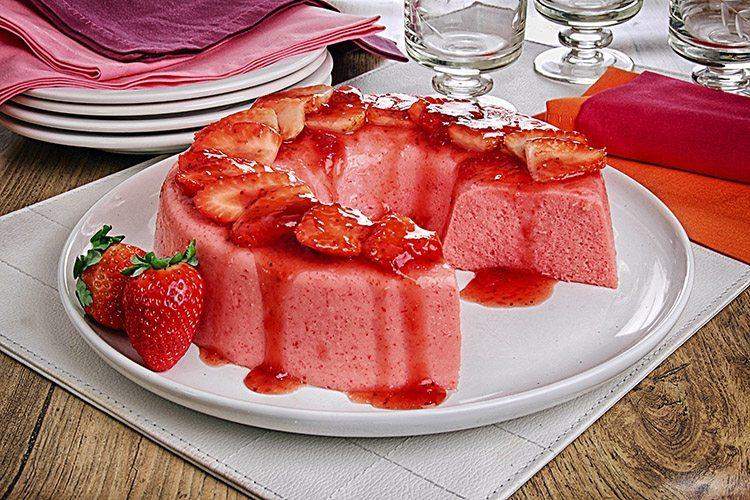 Sobremesa deliciosa gelado de morango