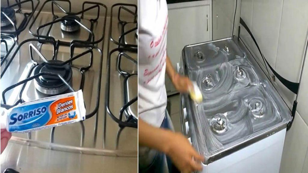 Como limpar o fogão só com creme dental – brilho sem esforço