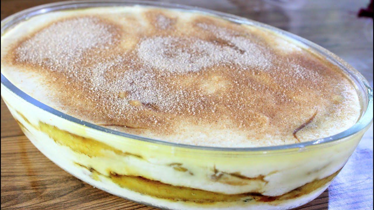 Sobremesa de banana na travessa fácil e deliciosa